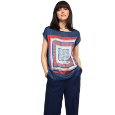 Esprit Flowing Printed Mixed Material Top - Navy