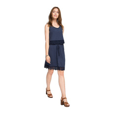 Esprit Layered-Look Jersey Dress, Blended Cotton - Navy