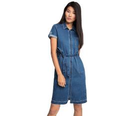 Esprit Stretch Denim Dress With A Frayed Hem - Blue Medium Wash