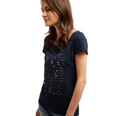 Beli Esprit T Shirt With A Foil Print Navy Kredit