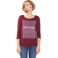 Esprit T-Shirt with a Shiny Print, 100% Cotton - Garnet Red