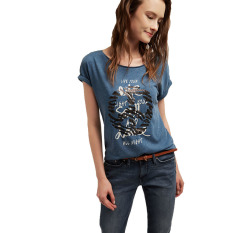 Review Pada Esprit T Shirt With Sequin Embroidery Dark Blue