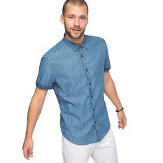 Toko Esprit Textured Denim Shirt Blue Light Wash Dekat Sini