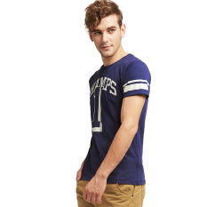 Harga Esprit Worn Print Cotton Jersey T Shirt Dark Blue Terbaik