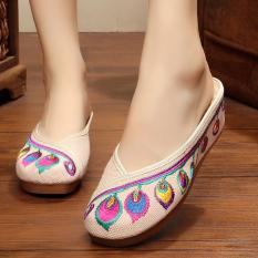 Jual Etnis Angin Bulu Peninggi Kasual Sendal Bordir Sepatu Nasi Putih Sepatu Wanita Sandal Wanita Ori