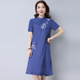 Beli Angin Nasional Kain Linen Pakaian Wanita Lengan Pendek Yang Dilukis Dengan Tangan Rok Setengah Panjang Gaun Biru Nyicil