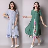 Perbandingan Harga Angin Nasional Kain Linen Bagian Panjang Dicetak Rok Gaun Hijau Di Tiongkok