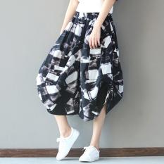 Harga Angin Nasional Musim Semi Dan Musim Panas Pinggang Elastis Kulot Celana Perempuan Hitam Other
