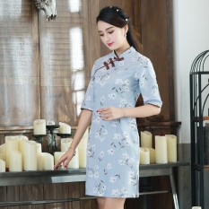Harga Etnis Angin Peningkatan Slim Gelang Rajutan Cheongsam Rok Terusan Biru Baju Wanita Dress Wanita Gaun Wanita Tiongkok