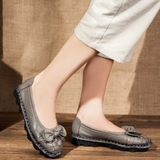 Sepatu Tods Wanita Sol Lunak Vamp Sepatu Rendah Retro (Abu-abu) (Abu-abu)