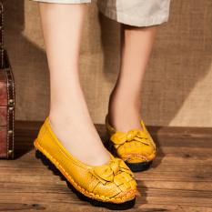 Sepatu Tods Wanita Sol Lunak Vamp Sepatu Rendah Retro (Kuning) (Kuning)
