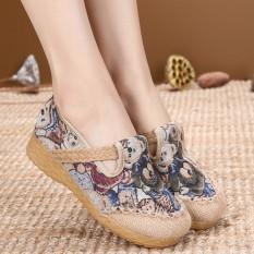 Beli Etnis Angin Sepatu Linen Set Kaki Bernapas Sepatu Slip On Sepatu Bordir D07 Biru Sepatu Wanita Flat Shoes Online Tiongkok