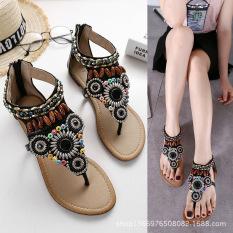 Harga Etnis Angin Untaian Manik Hand Made Datar Dengan Ritsleting Sepatu Romawi Datar Sandal Summer Hitam Sepatu Wanita Sendal Wanita Tiongkok