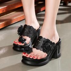 Etnis Musim Panas Angin Asli Rajut Model Crocs Sandal Musim Panas (Hitam)