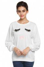 ETOP Bulu Mata Lip Print Lengan Panjang T-shirt Tops S-XL (Putih)