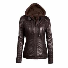 Eropa dan Amerika Fashion Detachable Lapel Lengan Panjang Zipper Jaket Kulit Jaket. Hoodie. Warna Murni. Wanita-Kopi-Intl