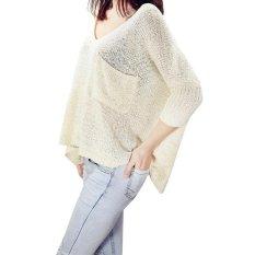 Tips Beli Eropa Dan Amerika Serikat Angin Ukuran Besar Sweater Leher Leher Bulat Sweater Bat Lengan Hollow Blus Beige Intl