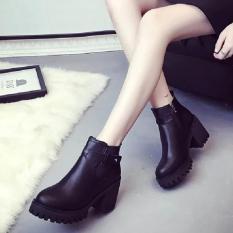 Toko Eropa Martin Boots Kecil Pendek Boots Bertumit Tinggi Wanita Round Boots Hitam Dekat Sini
