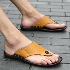 Europe Station Inggris Kulit Musim Panas Pria Sandal Kulit Dan Sandal Sandal Jepit (Coklat 589)