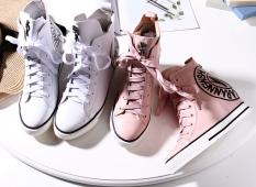 Eropa Station Kulit Musim Semi atau Musim Gugur Perempuan Baru Sepatu Angsa Emas Bot Pendek Sepatu Sneakers (Merah Muda)
