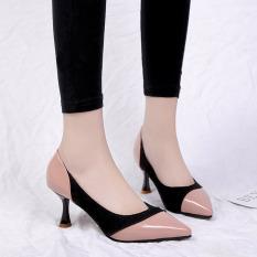 Eropa Station Kulit Paten Perempuan Hak Tipis With Sepatu Wanita Sepatu Tumit (Merah Muda Telanjang)