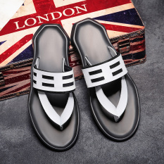 Eropa Station Sandal Jepit Modis Kulit Sandal Pria Tergelincir (Q7001 Putih)