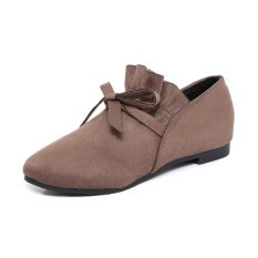 Eropa Station Populer Baru Wanita Musim Gugur Sepatu Kulit Teplek Mama Sepatu Wanita (Khaki)