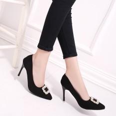 Eropa dan Amerika Musim Semi Ramping Heel Sepatu Tumit Bor Merah Pernikahan Sepatu Hitam Sepatu Pompa (34) -Internasional