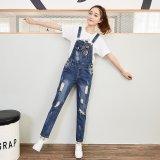 Jual Eropa Dan Amerika Women S Mid Peninggi Hole Long Jeans Modern Overall Biru Intl Branded