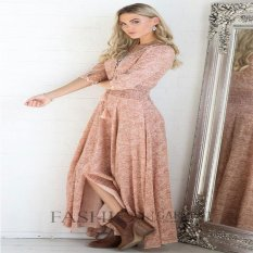 [Eropa] Dicetak Dresses Kecepatan Jual Tong Wish Eropa dan Amerika Serikat Gaya Panas V-neck Lengan Terbelah Floral Print Gaun-Intl