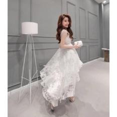 Eropa Benang Akar Wanita Korea Organza Little Pure White Mermaid Pernikahan Bridesmaid Pesta Gaun-Intl
