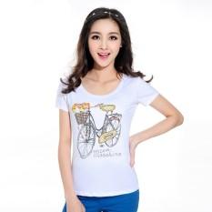 Gaya Eropa Sepeda Keranjang Kartun Kaus Modis Ramping Gaun Perdagangan Modis Ramping Kaus 3849-Internasional
