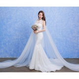 Harga Pernah Gaun 2017 Baru Lace Pernikahan Gaun Mahkamah Kereta Tinggi Leher Gaun Pengantin Gading Changuan Intl Terbaik