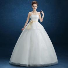 Pernah Dresses Bride Gaun Strapless Lace Ball Gown dengan Bow Gaun Pengantin (Gading)-Intl