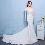 Penawaran Istimewa Pernah Gaun Royal Kereta Lace Pernikahan Gaun Off The Bahu Panjang Mermaid Bridal Gaun Intl Terbaru
