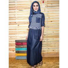Everflow Baju Gamis Dress Muslimah Casual Denim VDL 22 - Biru Navy