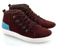 Beli Everflow Sd10 Sepatu High Cut Sneaker Wanita Suede Canvas Tpr Elegan Dan Gaul Maroon Comb Dengan Kartu Kredit