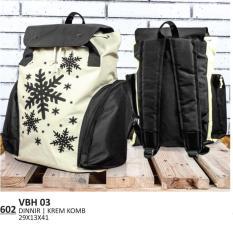 Everflow VBH 03 Tas Ransel Backpack  Wanita-Dinnir -Modern Keren(Cream Kombinasi)