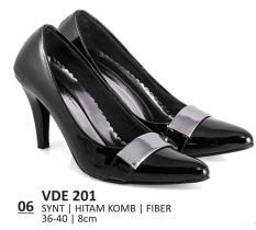 Jual Everflow Vde 201 8Cm Sepatu Heels Pantofel Formal Wanita Sintetis Fiber Hak 8 Cm Modern Keren Hitam Kombinasi