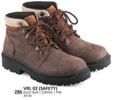 Everflow VRL 02 Sepatu Safety Boots Tracking / Adventure Pria-Kulit Buk-Tpr-  Bagus(Coffee)