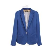 Ledakan Perdagangan Luar Negeri Di Eropa dan Amerika Serikat Satu Gesper Wanita Jaket Fashion Jaket Permen Warna Gesper Jas (BLUE) -Intl