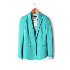 Ledakan Perdagangan Luar Negeri Di Eropa dan Amerika Serikat Satu Gesper Wanita Jaket Fashion Jaket Permen Warna Gesper Suit (Sky Blue) -Intl