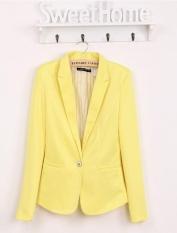 Ledakan Perdagangan Luar Negeri Di Eropa dan Amerika Serikat Satu Gesper Wanita Jaket Fashion Jaket Permen Warna Gesper Suit (KUNING) -Intl