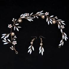 Indah Glasir Berwarna Daun Headband untuk Wanita Pernikahan Crystal Headband Bridal Vintage & Anting-Anting Ornamen Rambut Perempuan-Intl