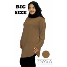 Ezpata Atasan Blouse Jumbo / Big Size Polos Wanita Bahan Kaos Rayon XXL - 4L - Khaki