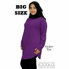 Ezpata Atasan Blouse Jumbo / Big Size Polos Wanita Bahan Kaos Rayon XXL - 4L - Violet Tua