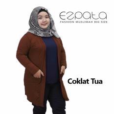 Review Ezpata Cardigan Wanita Jumbo Big Size Lengan Panjang Polos Coklat Tua Terbaru