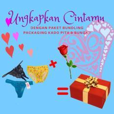 Ezpata Celana Dalam - 3 Pcs Paket Valentine Celana Dalam Wanita Promo Februari Hadiah 1 Tangkai Bunga Mawar