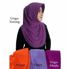Spesifikasi Ezpata Jilbab Kerut Samping Bahan Stella Ungu Terong Yg Baik