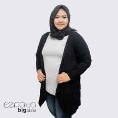 Ulasan Tentang Ezpata Cardigan Wanita Big Size Jumbo Bahan Spandek Rayon Adem Hitam